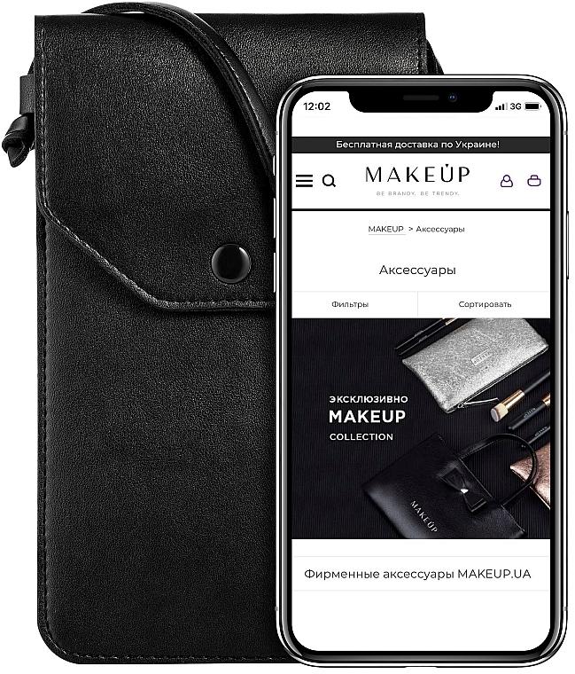 """Чехол-сумка для телефона на ремешке, чёрный """"Cross"""" - Makeup Phone Case Crossbody Black"""