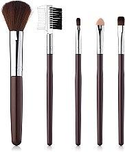 Духи, Парфюмерия, косметика Набор кистей для макияжа 5шт, коричневые - Aise Line Makeup Brush Set