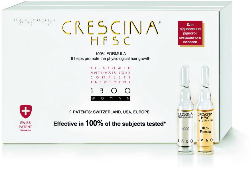 Полный курс при выпадении и для восстановления роста волос 1300 для женщин - Crescina Re-Growth HFSC 100% + Crescina Anti-Hair Loss HSSC