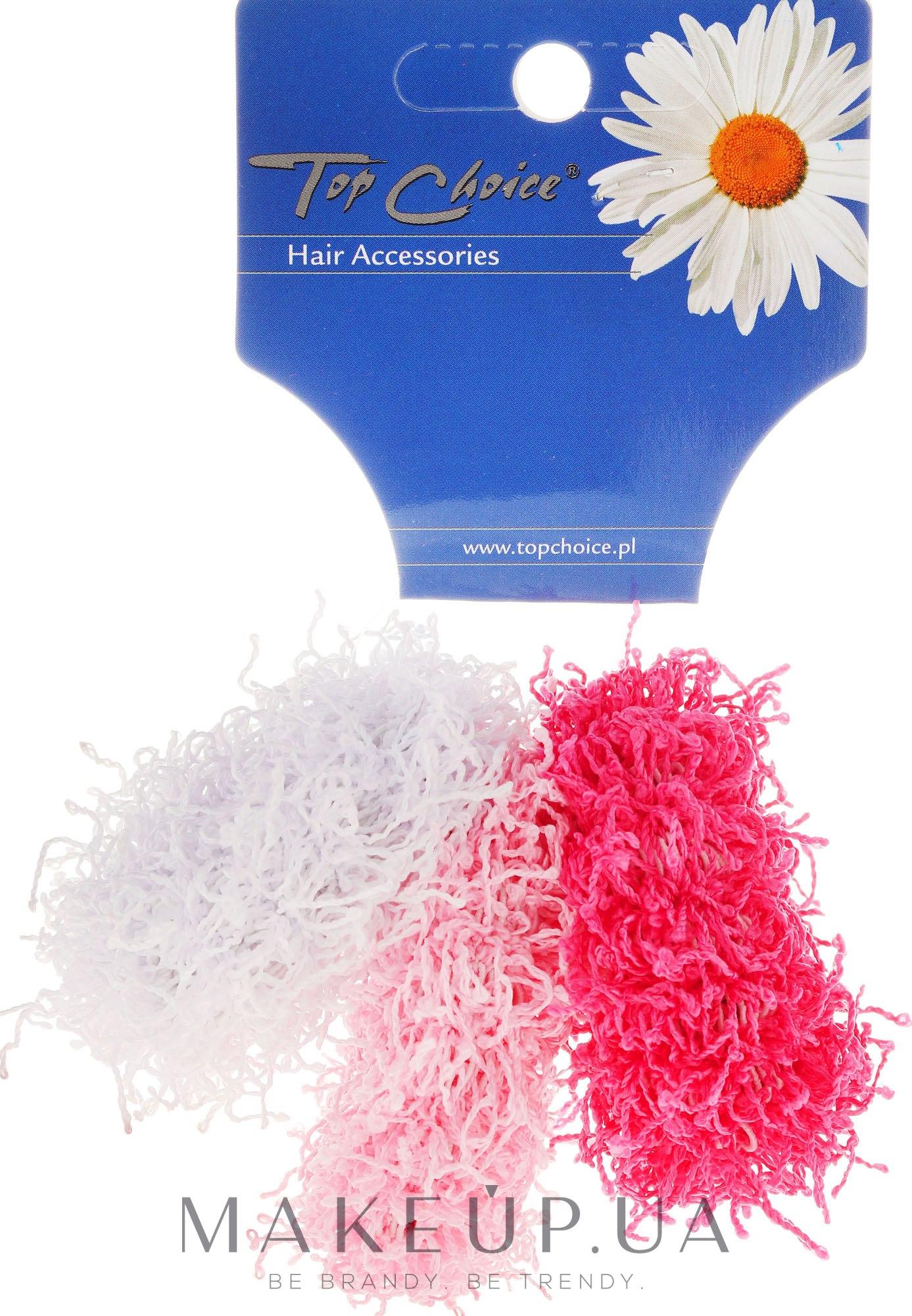 """Резинки для волос """"Spaghetti"""" 3 шт, розовые + белая - Top Choice — фото 3шт"""