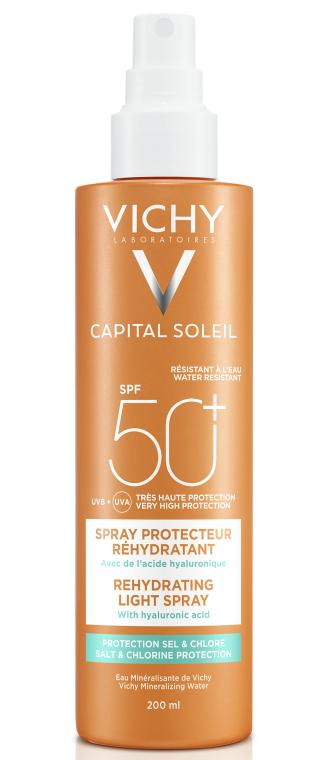 Солнцезащитный водостойкий спрей с гиалуроновой кислотой, SPF50+ - Vichy Capital Soleil Beach Protect Anti-Dehydration Spray SPF 50