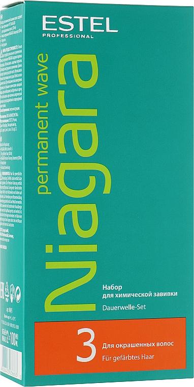 Набор для химической завивки для окрашенных волос - Estel Professional Niagara Permanent Wave (fix/100ml + lot/100ml + gloves)