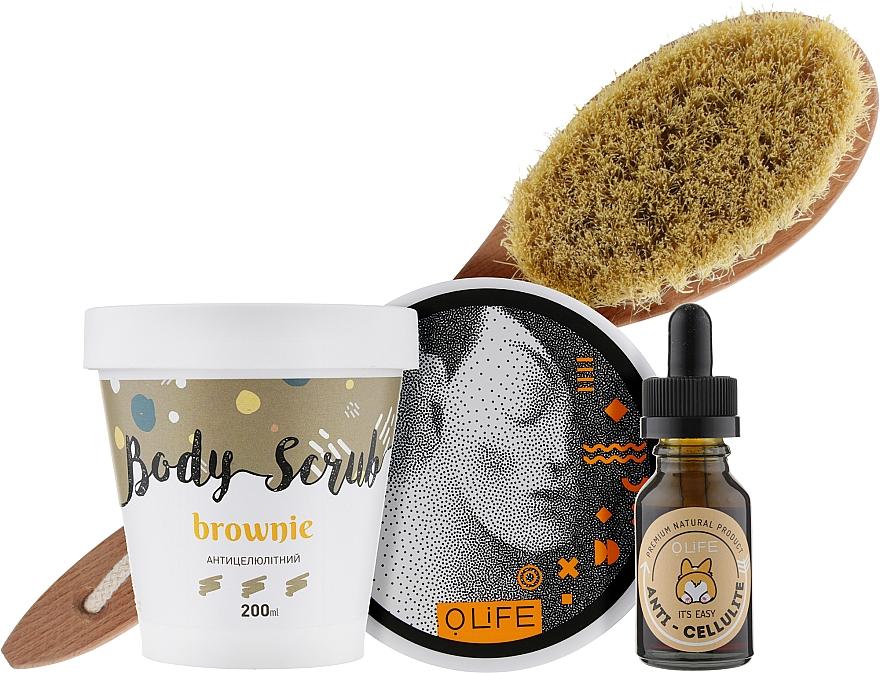 Антицеллюлитный набор - O.life All You Need (scrub/200ml + cream/300ml + oil/15ml + brush)