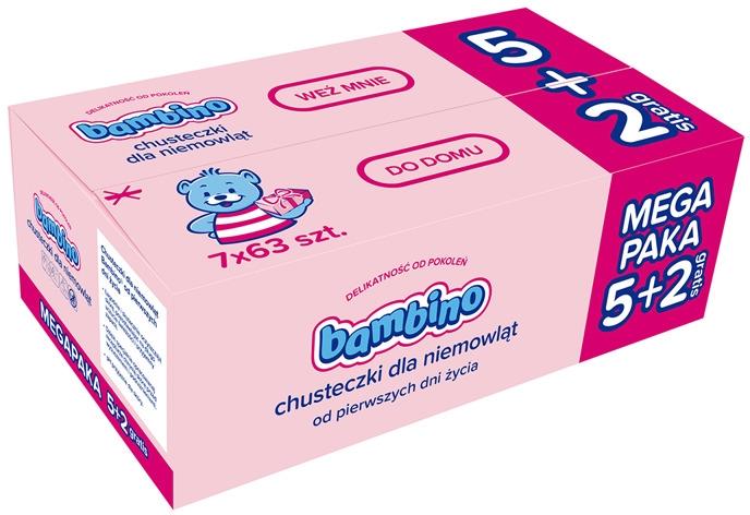 Детские влажные салфетки, 7x63шт - Bambino Wipes