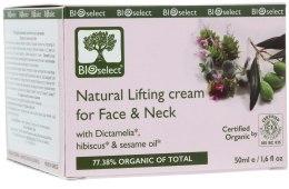 Духи, Парфюмерия, косметика Крем-лифтинг для лица и шеи с диктамелией, гибискусом и маслом кунжута - BIOselect Natural Lifting Cream For Face And Neck
