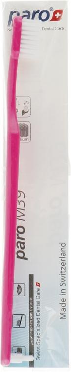 Зубная щетка, с монопучковой насадкой (полиэтиленовая упаковка), розовый - Paro Swiss M39 Toothbrush
