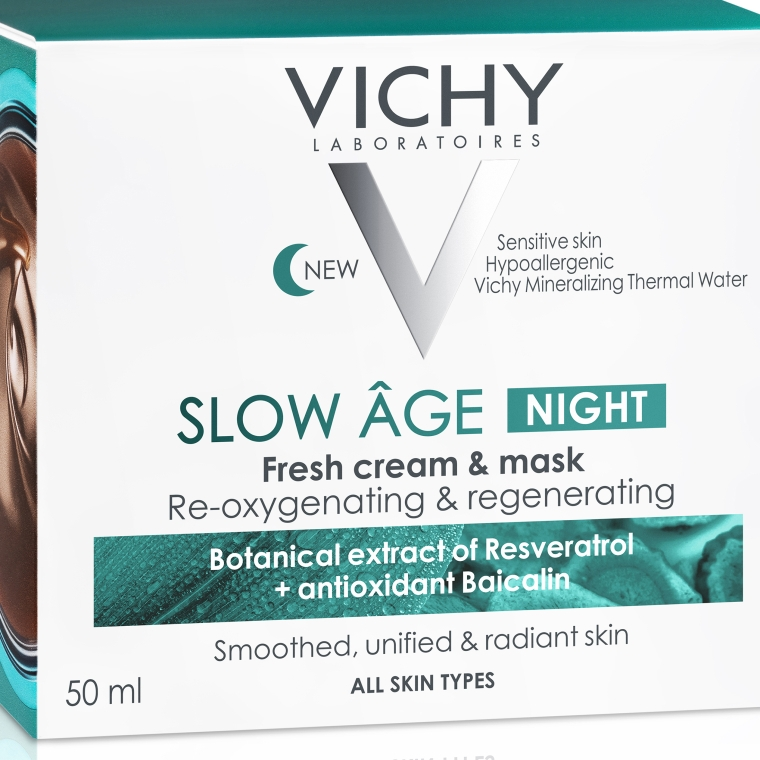 Ночная крем-маска для коррекции признаков старения кожи - Vichy Slow Age Fresh Cream & Mask — фото N7