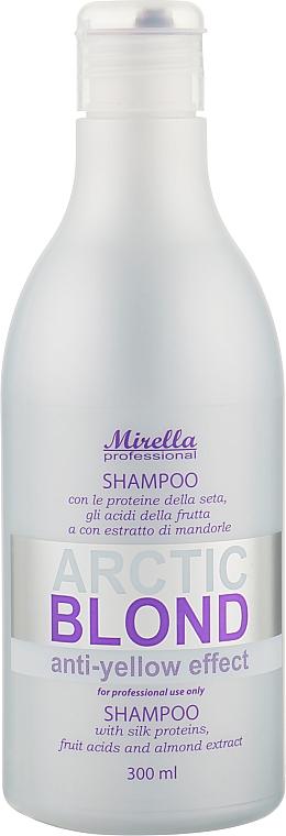 Шампунь с протеинами шелка для светлых, седых и поврежденных волос - Mirella Arctic Blond Anti-Yellow Effect Shampoo