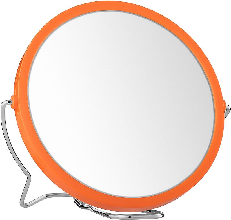 Двухстороннее косметическое зеркало, 13см, оранжевое - Titania