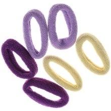 Духи, Парфюмерия, косметика Набор резинок для волос, 7578, 6 шт., темно-фиолетовый + фиолетовый + желтый - Reed