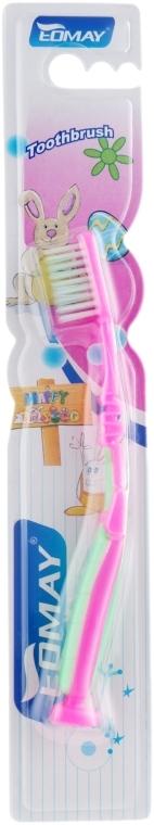 Детская зубная щетка, мягкая, 6601 розово-салатовая - Eomay