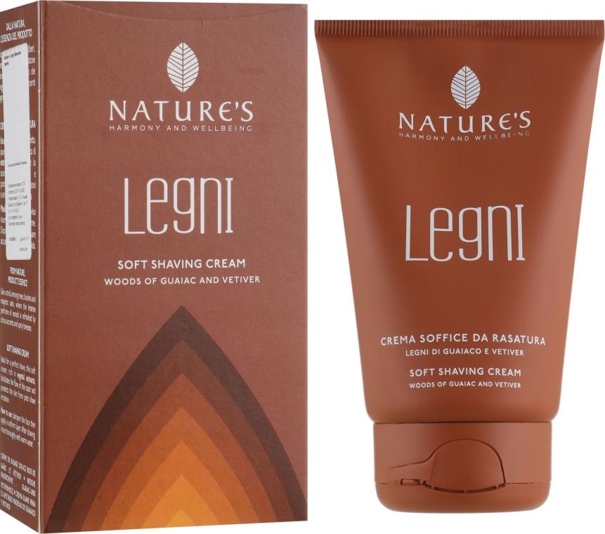 Крем для бритья мягкий, с гваяковым деревом и ветивером - Nature's Legni Soft Shaving Cream