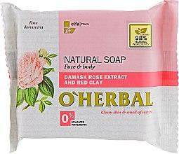 Духи, Парфюмерия, косметика Натуральное мыло с экстрактом дамасской розы и красной глиной - O'Herbal Soap