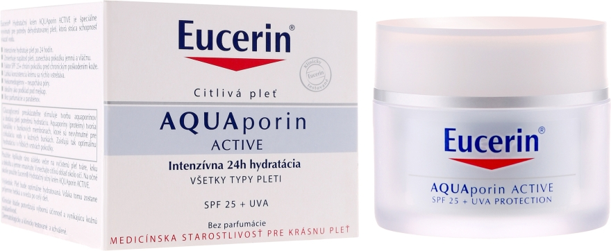 Увлажняющий крем для лица - Eucerin AquaPorin Active Deep Long-lasting Hydration For All Skin Types SPF 25 + UVA