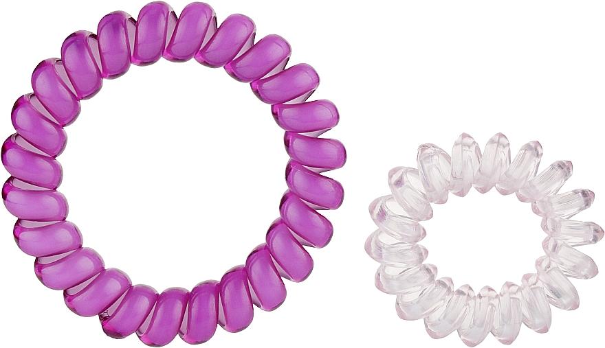 Резинки для волос, 414562, прозрачно-розовая+фиолетовая с белым - Glamour