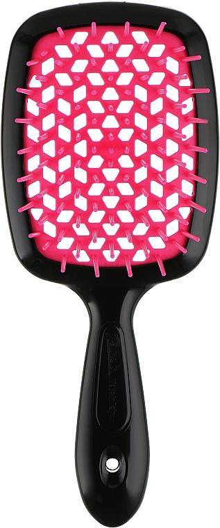 Расческа для волос, малиново-черная - Janeke Superbrush