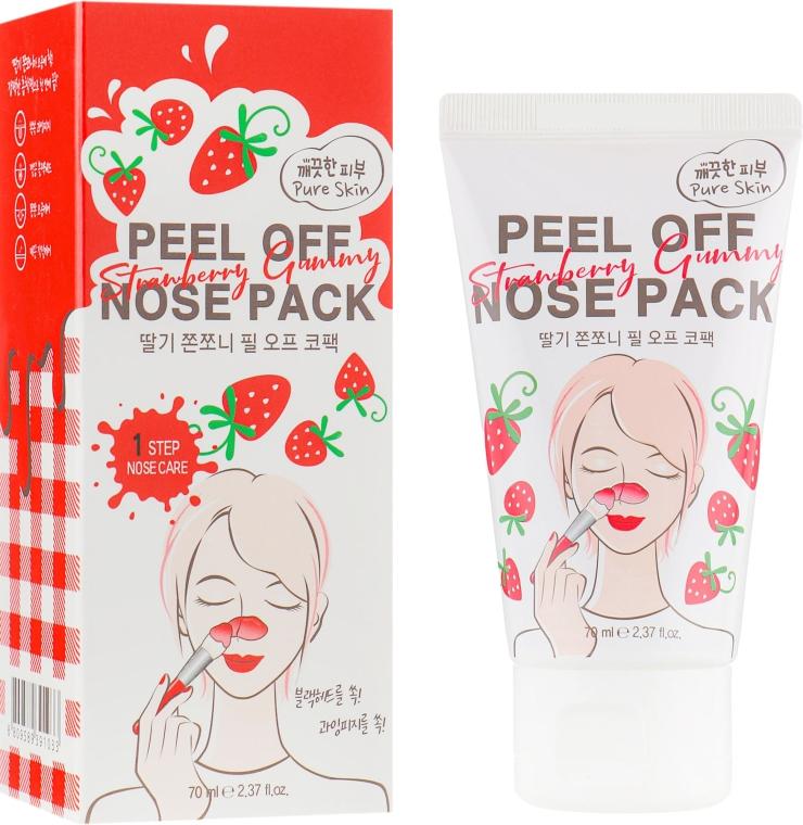 Очищающая маска-пленка для носа с экстрактом клубники - Esfolio Strawberry Gummy Peel Off Nose Pack
