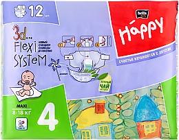 """Духи, Парфюмерия, косметика Детские подгузники """"Happy"""" Maxi 4 (8-18 кг, 12 шт) - Bella Baby"""