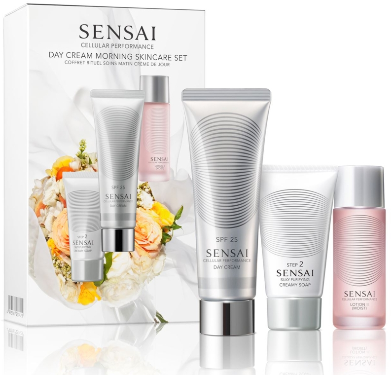 Набор - Kanebo Cellular Performance Day Cream Morning Skincare Set (soap/30 ml + lot/20 ml + cr/50 ml)