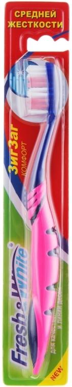 Зубная щетка, средней жесткости, розовая - Meggi Fresh&White Zigzag Comfort