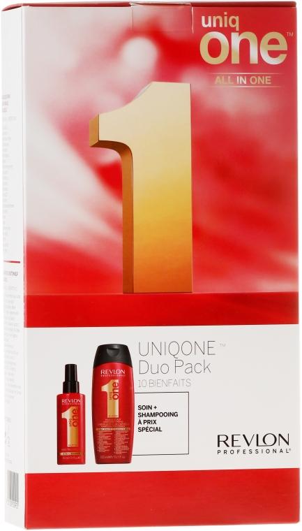 Набор - Revlon Professional Uniq One Uniqone Duo Pack (spray/150ml + sham/condit/300ml) — фото N1