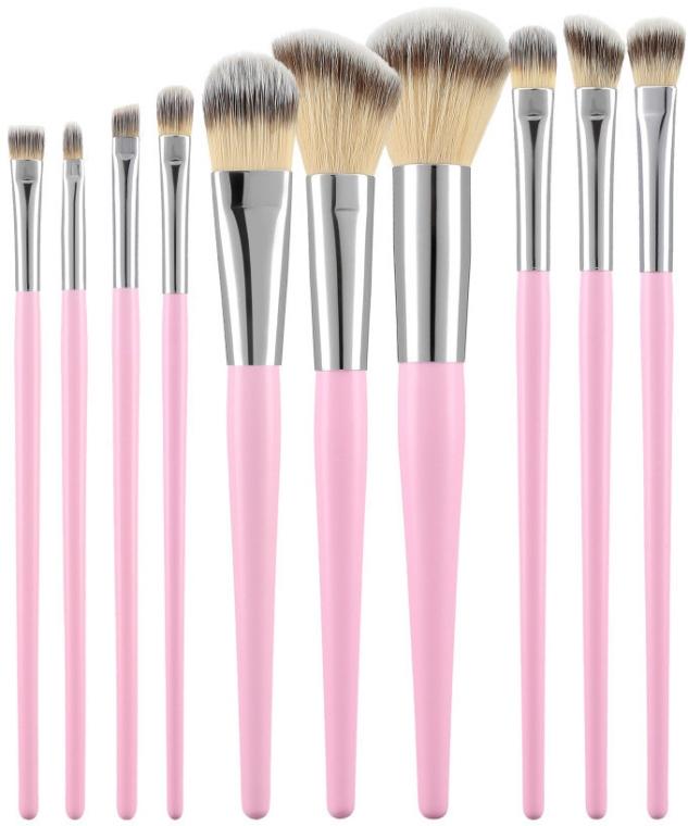 Набор профессиональных кистей для макияжа, розовый, 10 шт - Tools For Beauty