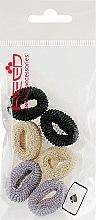 Духи, Парфюмерия, косметика Набор резинок для волос, 7576, 6шт, черный + бежевый + серый - Reed
