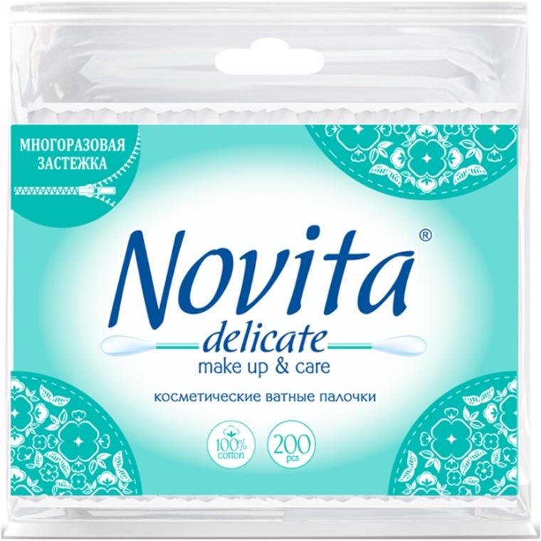 Палочки ватные в полиэтиленовом пакете, 200шт - Novita Delicate