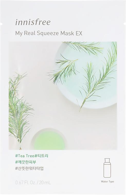 Тканевая маска с маслом чайного дерева - Innisfree It`s Real Squeeze Mask Tea Tree