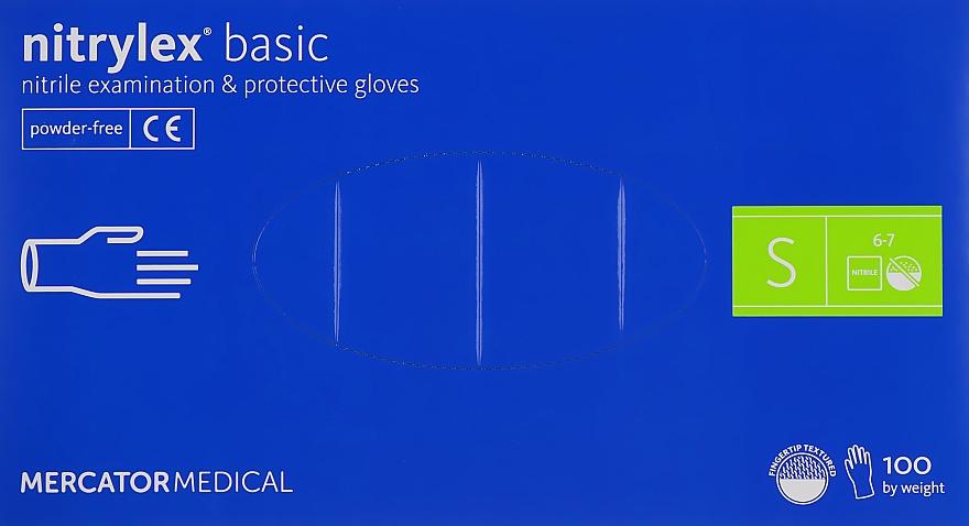 Перчатки нитриловые нестерильные неприпудренные S, голубые - Mercator Medical Nitrylex Basic