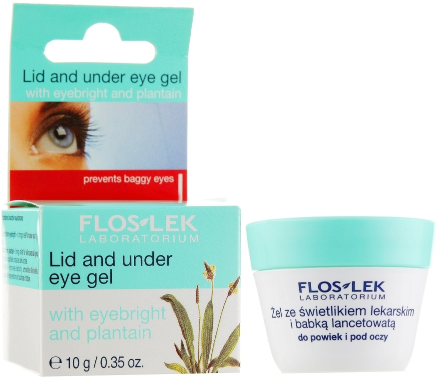 Гель для кожи вокруг глаз с экстрактом подорожника - Floslek Lid And Under Eye Gel With Eyebright And Plantain