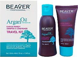Духи, Парфюмерия, косметика Набор для интенсивного восстановления с аргановым маслом - Beaver Professional Argan Oil Travel (shamp/60ml + cond/40ml)