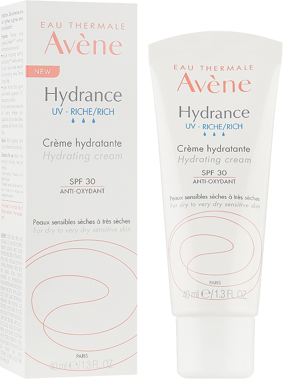 Увлажняющий крем для лица - Avene Eau Thermale Hydrance Rich Hydrating Cream SPF 30