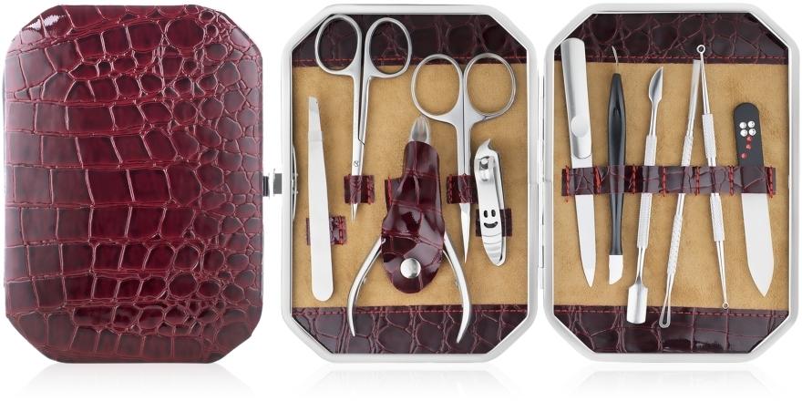Маникюрный набор, 11 предметов, бордовый - Avenir Cosmetics