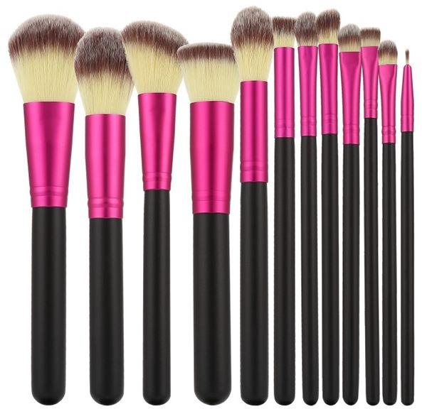 Набор профессиональных кистей для макияжа, 12шт, розовые с черным - Tools For Beauty