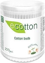 Духи, Парфюмерия, косметика Ватные палочки в круглой банке, 200шт - Ecotton Cotton Buds