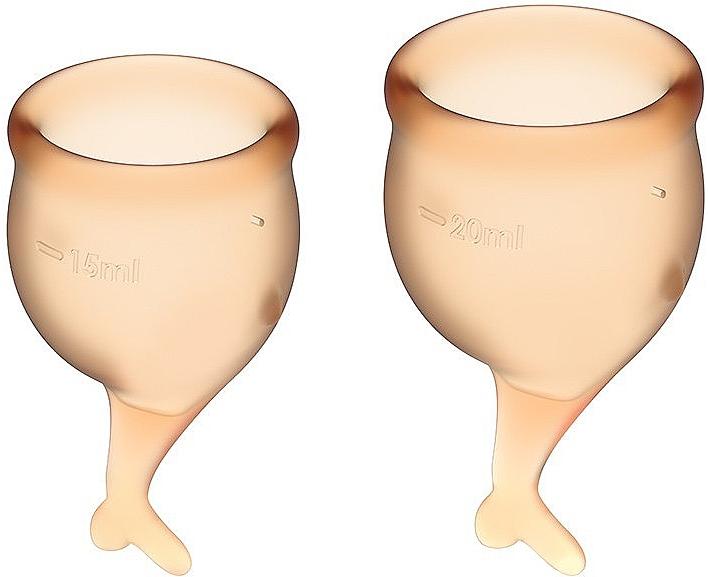 Набор менструальных чаш с хвостиком, оранжевый - Satisfyer Feel Secure Menstrual Cups