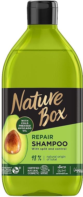 Шампунь для восстановления волос и против секущихся кончиков с маслом авокадо холодного отжима - Nature Box Repair Vegan Shampoo with cold pressed Avocado oil