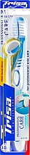 Духи, Парфюмерия, косметика Зубная щетка средней жесткости + зеркальце, бело-голубая - Trisa Professional Care Medium