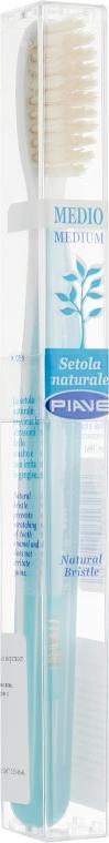 Зубная щетка с натуральной щетиной, средняя, бирюзовая - Piave