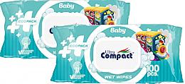 Духи, Парфюмерия, косметика Набор детских влажных салфеток с клапаном, 2х100 шт - Ultra Compact Baby Ecopack Wet Wipes