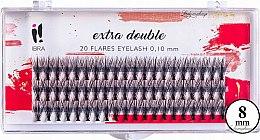 Духи, Парфюмерия, косметика Накладные пучки, C 0,1 мм, 8 мм - Ibra Extra Double 20 Flares Eyelash C 8 mm