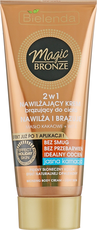 Увлажняющий бронзирующий крем для светлой кожи - Bielenda Magic Bronze 2in1 Moisturizing Bronze Cream for Light Skin