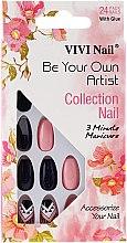 Набор искусственных ногтей, фиолетовый с бежевым - Donegal Express Your Beauty — фото N2
