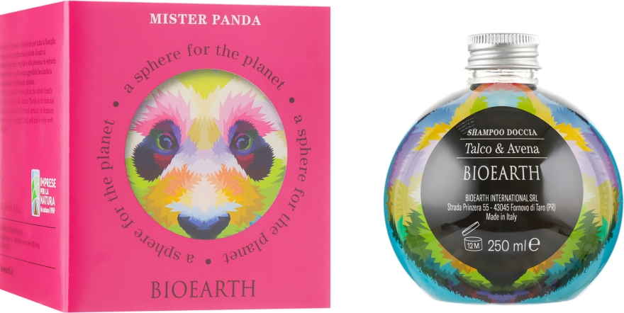 """Шампунь-гель для душа """"Тальк и овес"""" - Bioearth Mister Panda"""