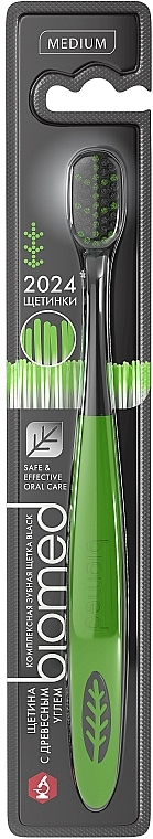Зубная щетка с угольным напылением, средней жесткости, черно-зеленая - Biomed Black Medium Toothbrush