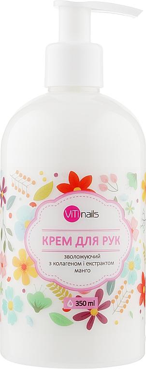 Крем для рук увлажняющий с коллагеном и экстрактом манго, с дозатором - ViTinails