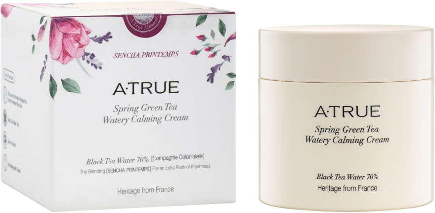 Успокаивающий крем для лица для увлажнения и осветления кожи - A-True Spring Green Tea Watery Calming Cream