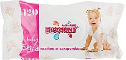 Духи, Парфюмерия, косметика Салфетки влажные с экстрактом алоэ с клапаном для детей, 120 шт - Discount Extra