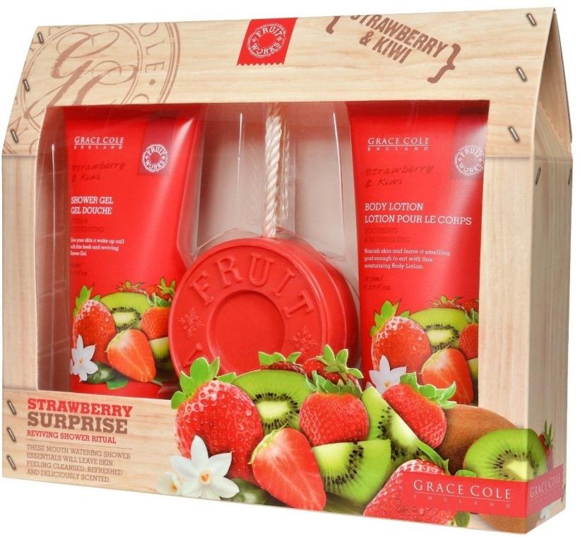 Набір - Grace Cole Fruit Works Strawberry Surprise (sh/gel/150ml + b/lot/150ml + soap/100g) — фото N1